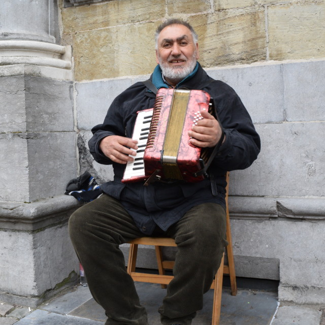 """Accordian player, Bruges"" stock image"