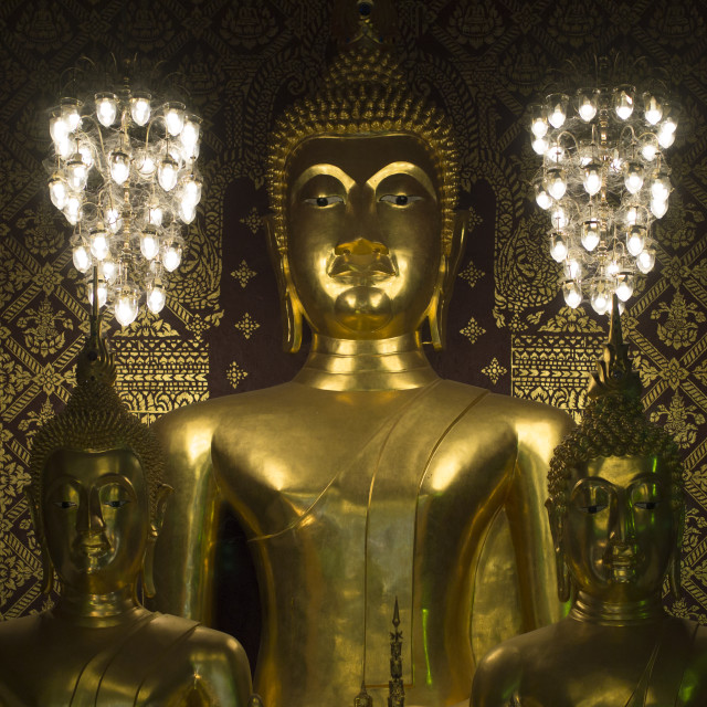 """""""three gold bhudda sculptures indoor with gold embossed wall"""" stock image"""