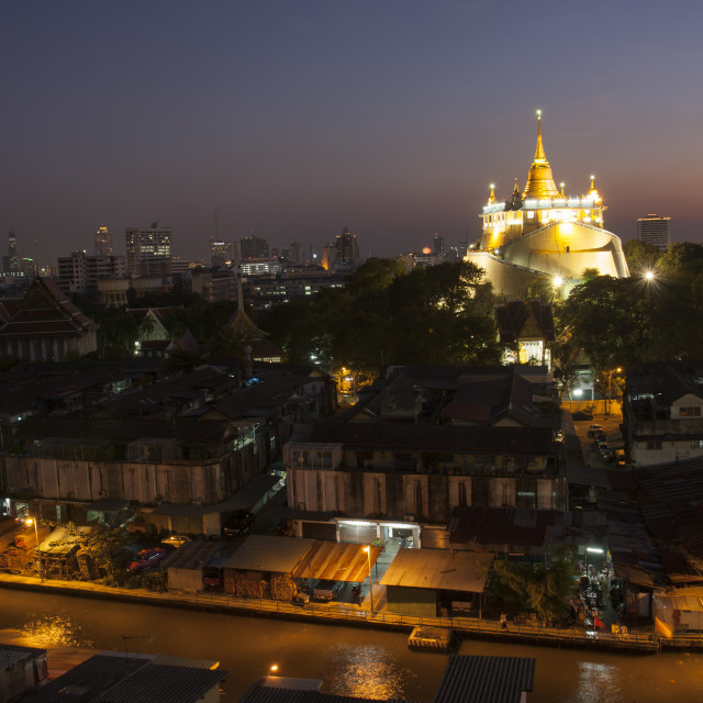 """""""Phukhao Thong, Wat Saket lighting at sunset"""" stock image"""