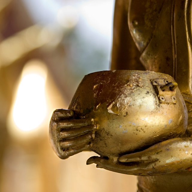 """Buddha Statue holding arms bowl."" stock image"