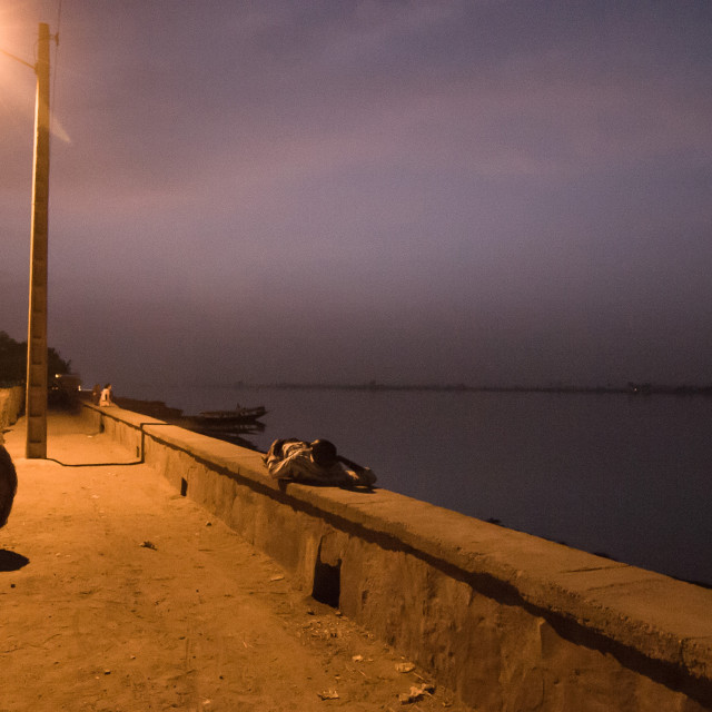 """Night falls over Niger river"" stock image"