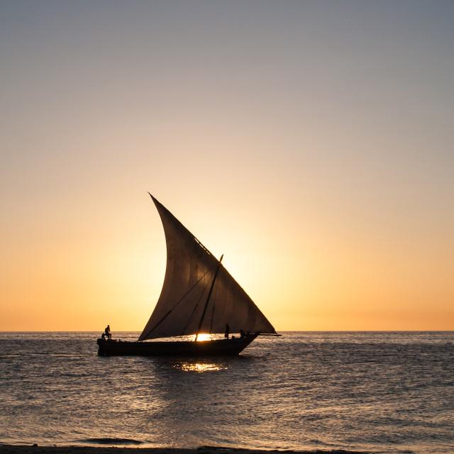 """""""Sunset sailing"""" stock image"""