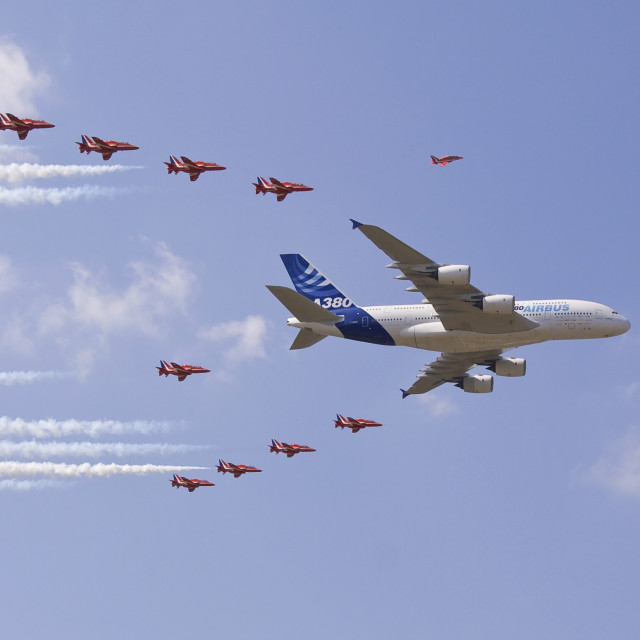 """Airbus A380 and Red Arrows"" stock image"