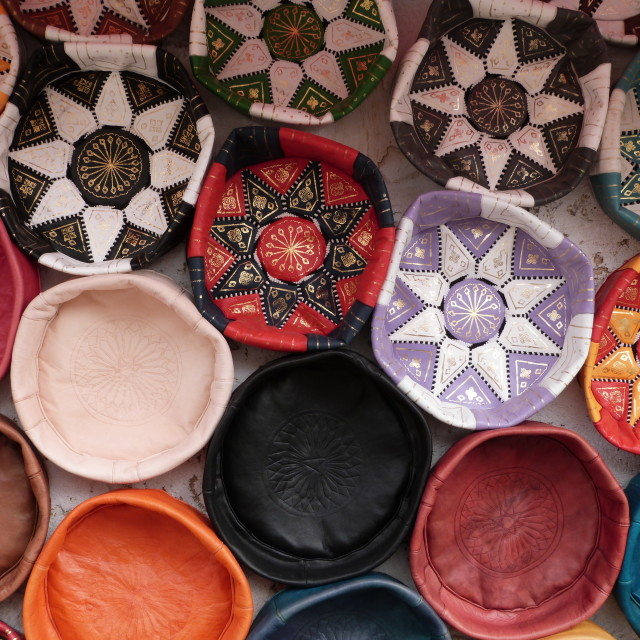 """""""Moroccan bright leather pouffes"""" stock image"""