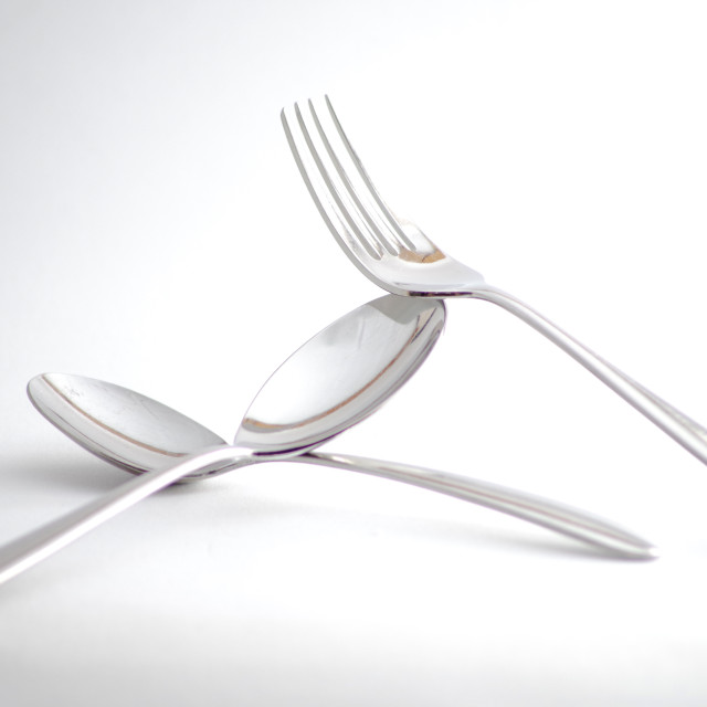 """2 Spoons and a Fork"" stock image"