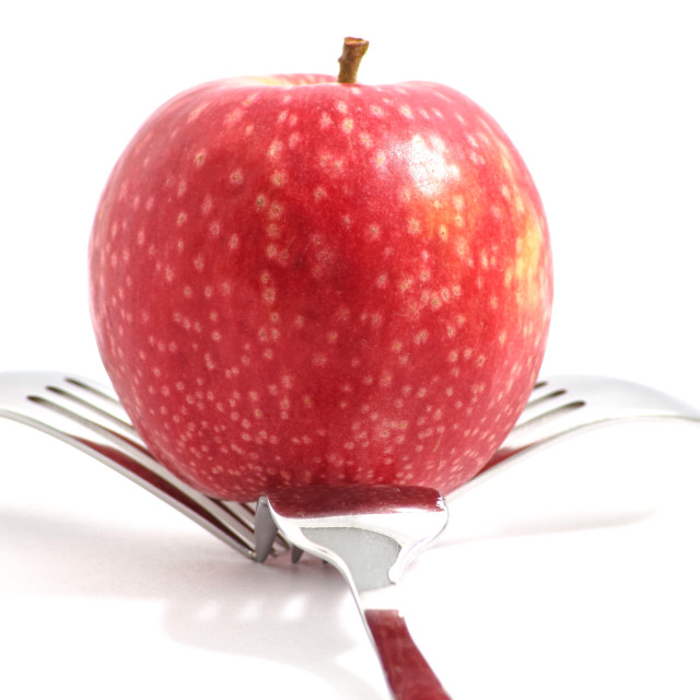 """Apple and 3 Forks"" stock image"