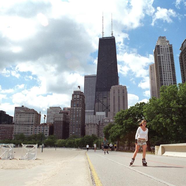 """""""Chicago Rollerskater"""" stock image"""