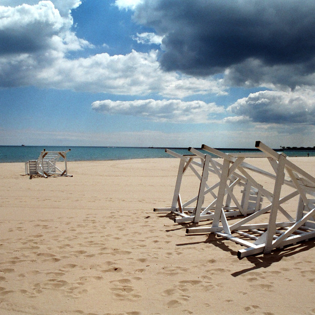 """""""Overturned Lifeguard Chairs"""" stock image"""