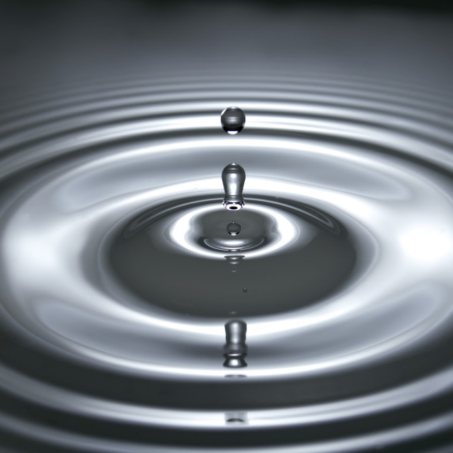 """three water drop and ripple"" stock image"