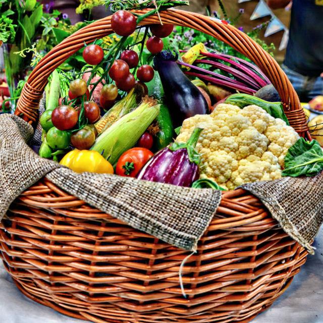 """""""Basket of vegetables"""" stock image"""
