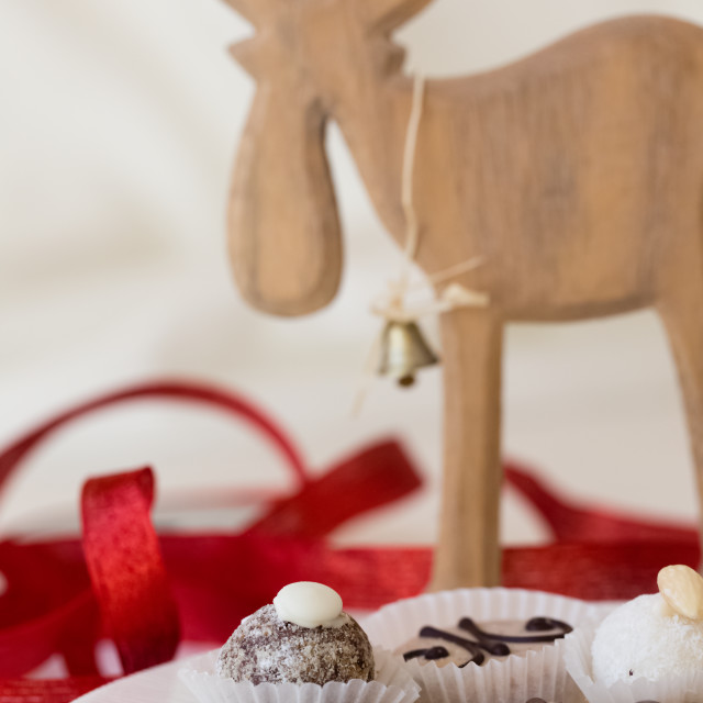 """""""Christmas cookies on a plate with decoration of a reindeer and a red ribbon"""" stock image"""