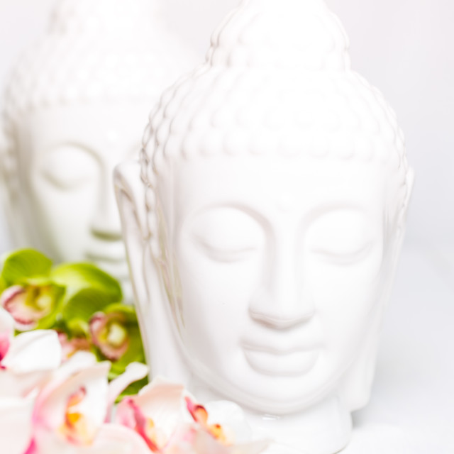 """""""Two decorative statues of Buddha with orchids"""" stock image"""