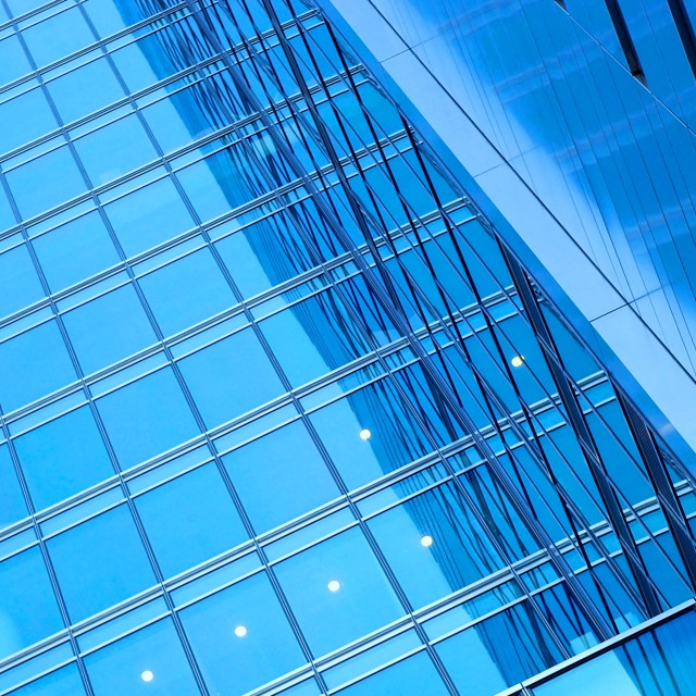 """""""Business center blue glass walls"""" stock image"""