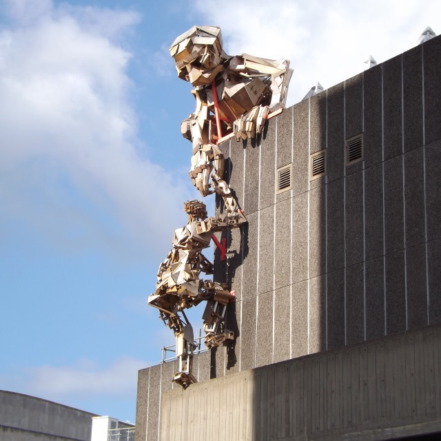 """Giant Wooden Robots, Hayward Gallery, London"" stock image"