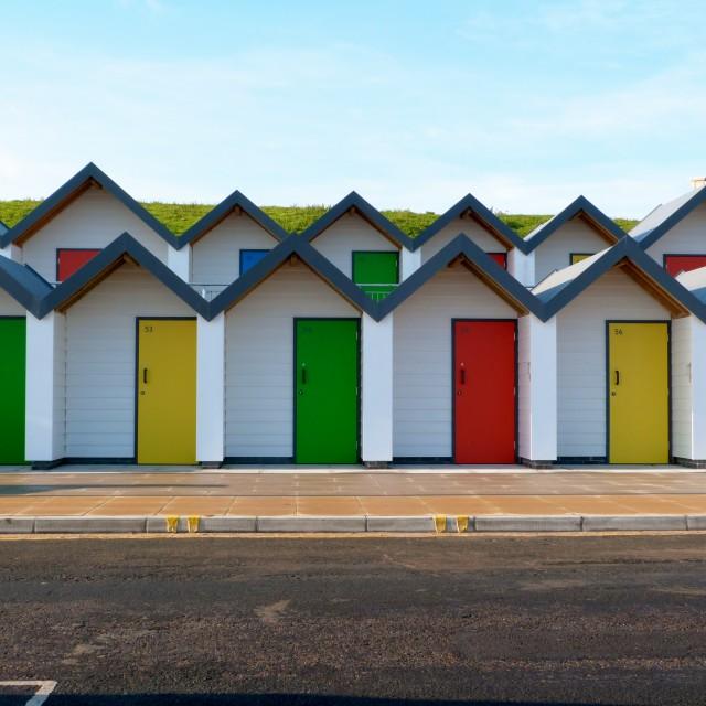 """Beach Huts, Swanage"" stock image"
