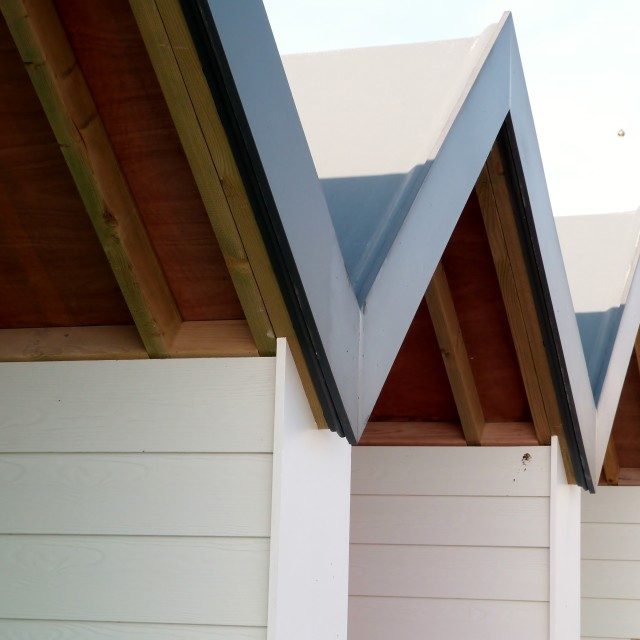 """Beach Hut Roofs"" stock image"