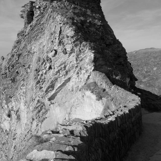 """Tintagel Castle in Monochrome."" stock image"