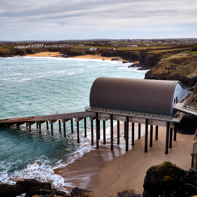 """""""Padstow RNLI Lifeboat Station"""" stock image"""