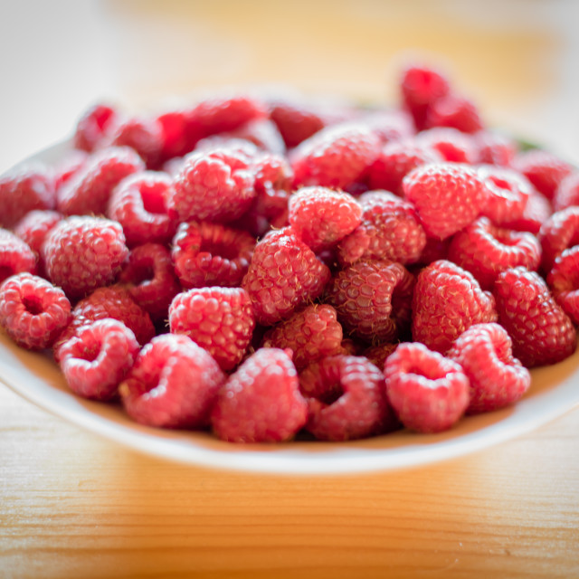 """Raspberry in plate"" stock image"