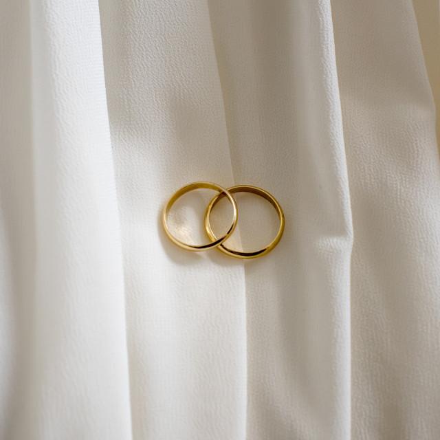 """Wedding rings on bride's dress"" stock image"