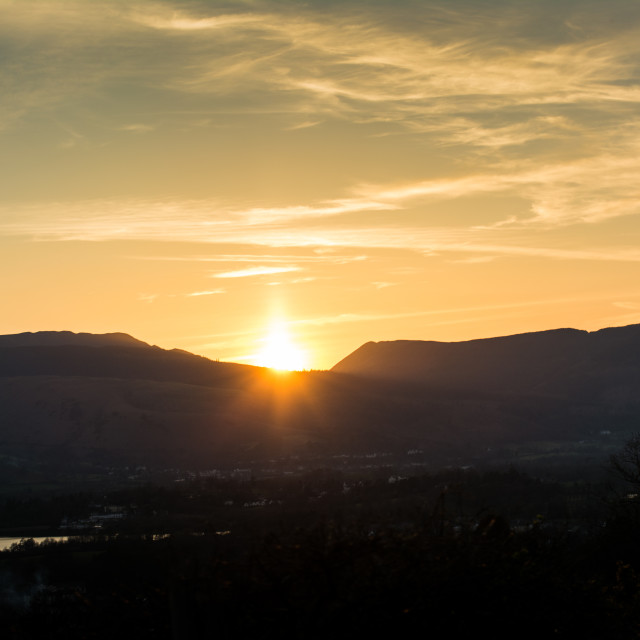 """Sunset over mountains"" stock image"
