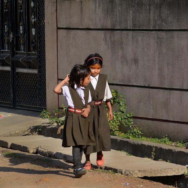 """Little Indian school buddies loitering around."" stock image"
