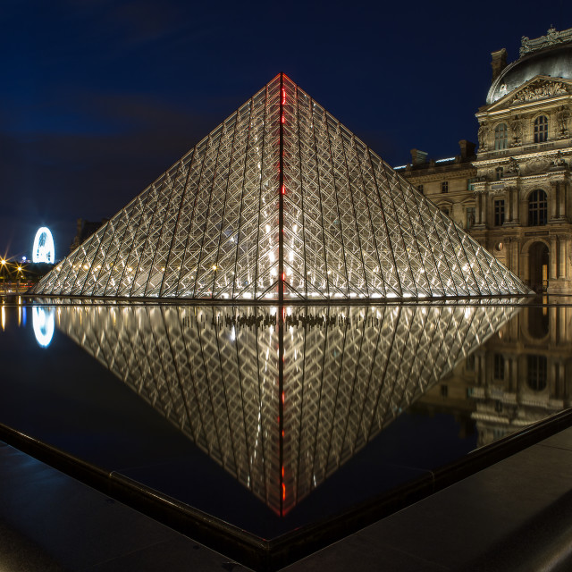 """La Louvre at night"" stock image"