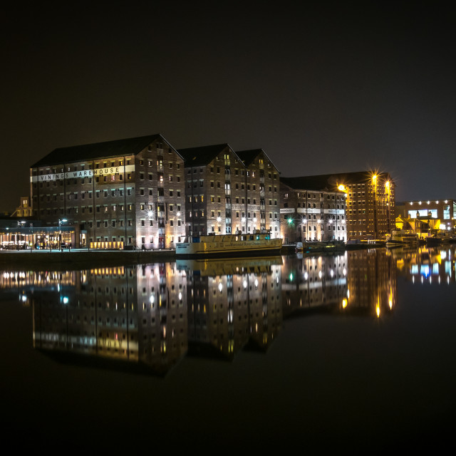 """Gloucester Docks at Night including Reflections"" stock image"