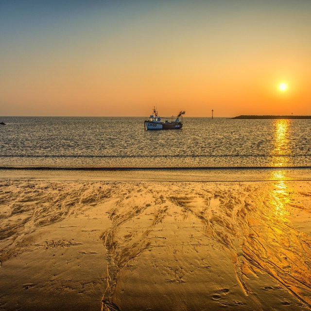 """""""Golden Sunset Over the Bay"""" stock image"""