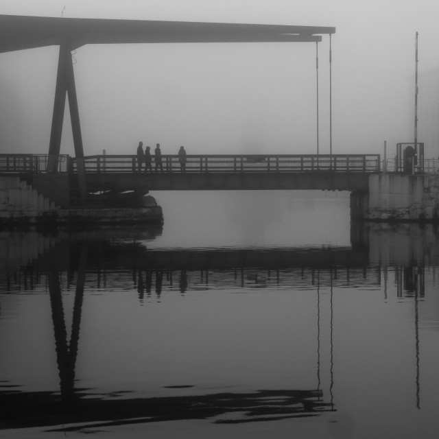 """Crossing The Bridge In The Mist"" stock image"