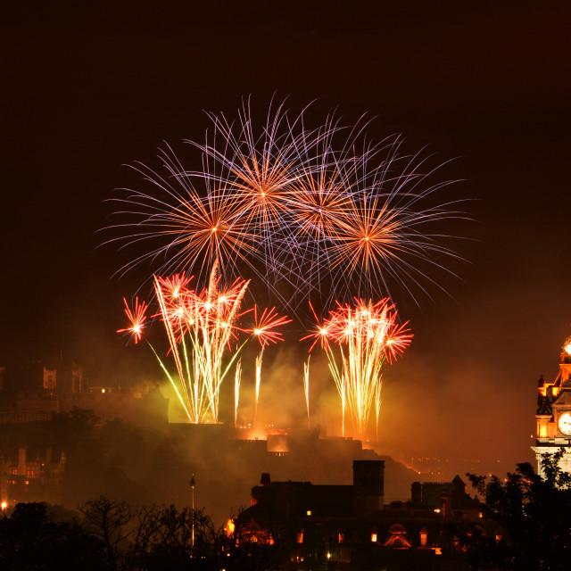 """""""Edinburgh Castle Festival Fireworks"""" stock image"""