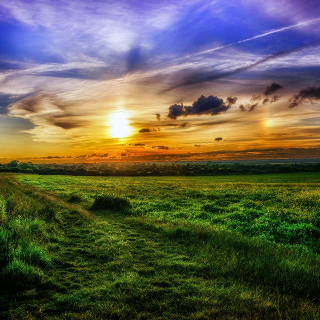 """Dynamic Sunset Over Kirby Fields"" stock image"