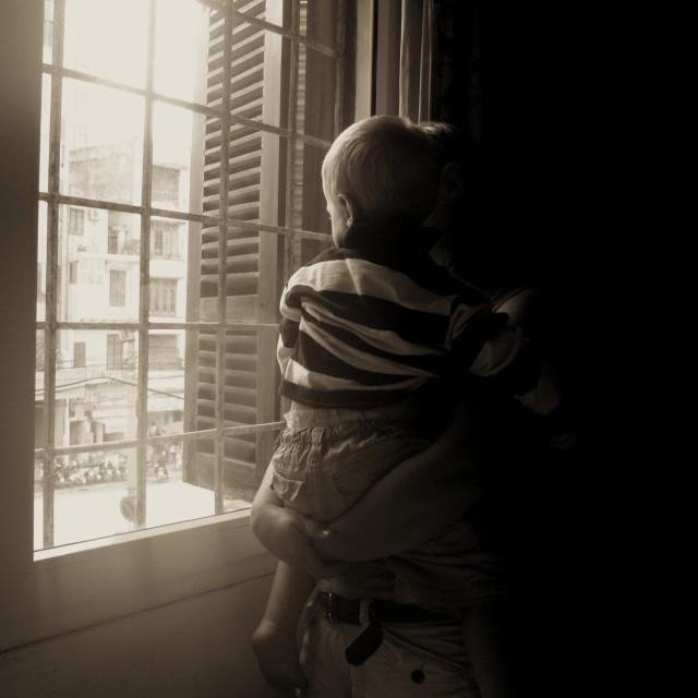 """Through the window"" stock image"