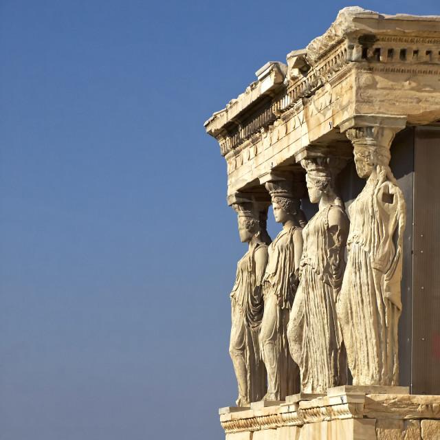 """Caryatids, Athenian Acropolis, Greece"" stock image"