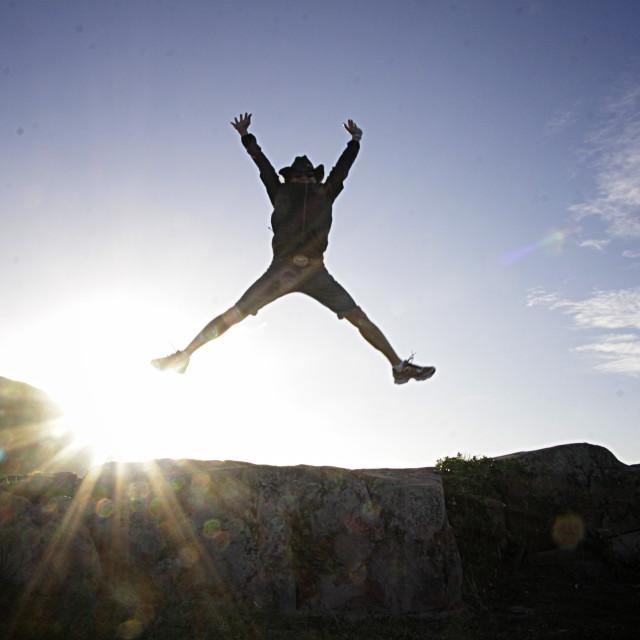 """Cowboy jumping jack flash Mt. Maunganui"" stock image"