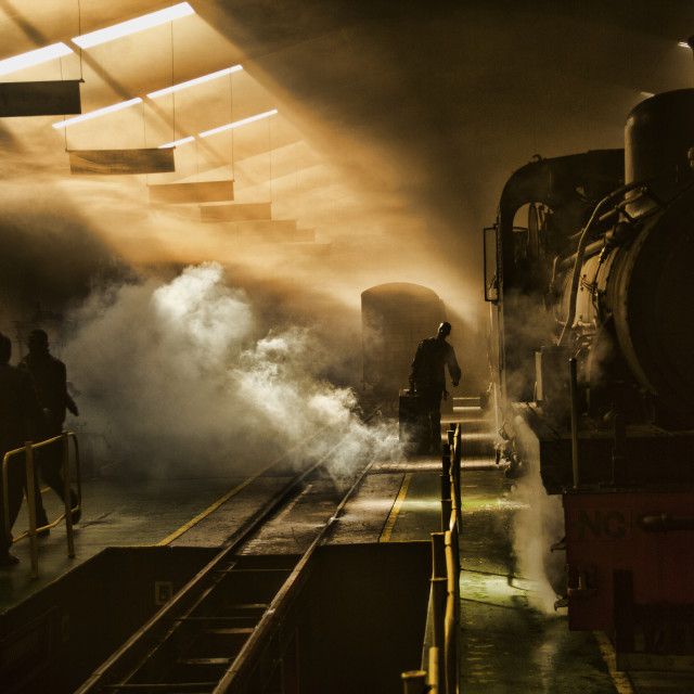 """Working on the train"" stock image"