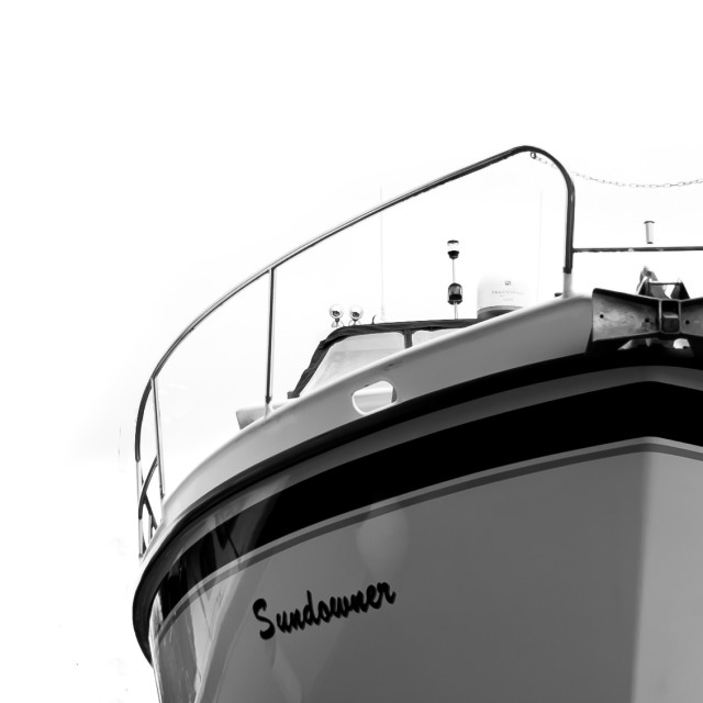 """Abstract of Boat Against a White Background"" stock image"