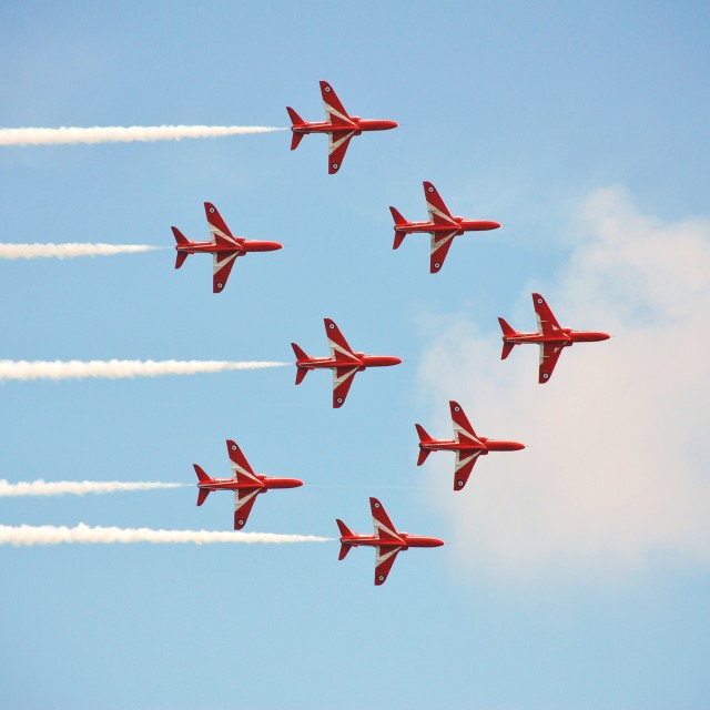 """""""The Red Arrows, Airbourne"""" stock image"""