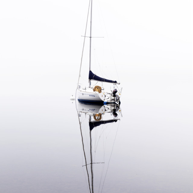 """The Yacht in the Mist 1"" stock image"