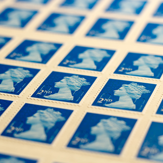 """Second class stamps"" stock image"