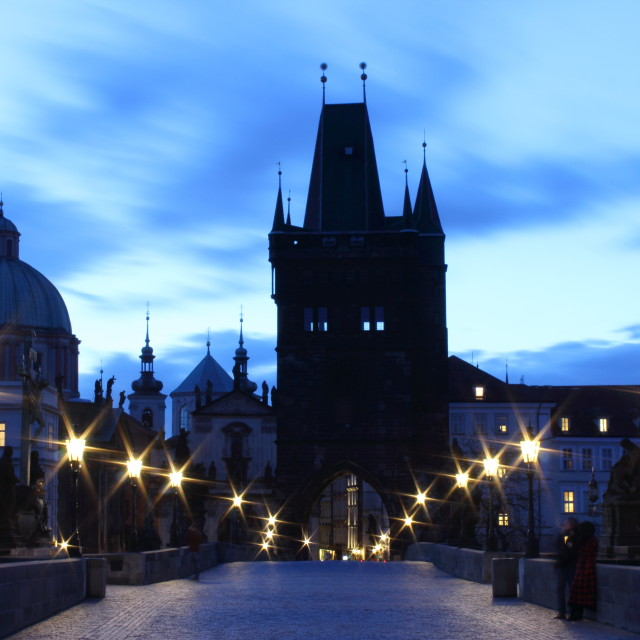 """Charles Bridge at dawn"" stock image"