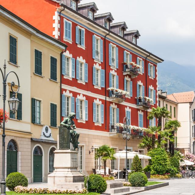 """Canobio, Italy: Town houses"" stock image"
