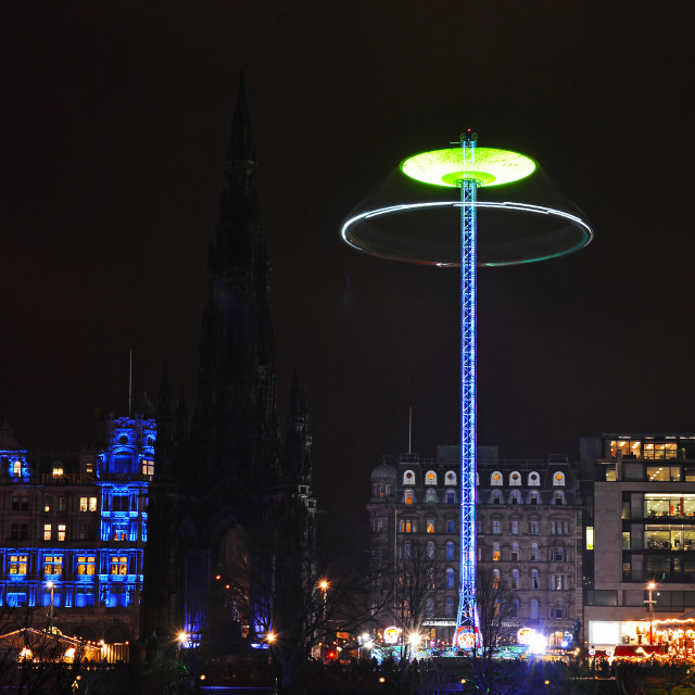 """Star flyer beside Scott monument"" stock image"