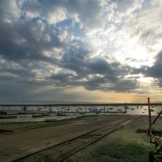 """Evening at Mersea Hard"" stock image"