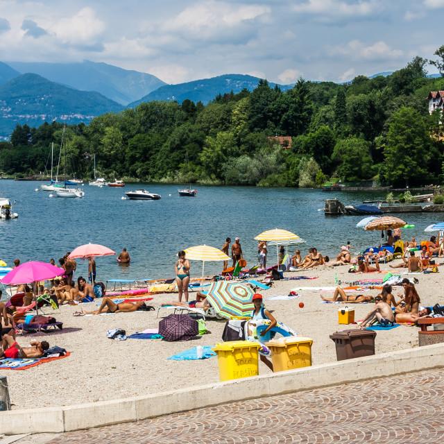"""""""Beach View, Lake Maggiore, Reno, Leggiuno, Italy"""" stock image"""