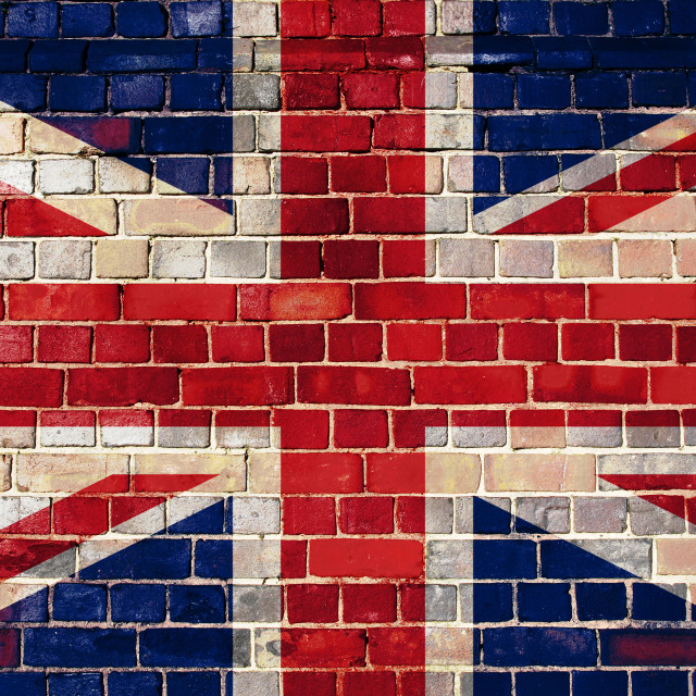 """UK flag on a brick wall background"" stock image"