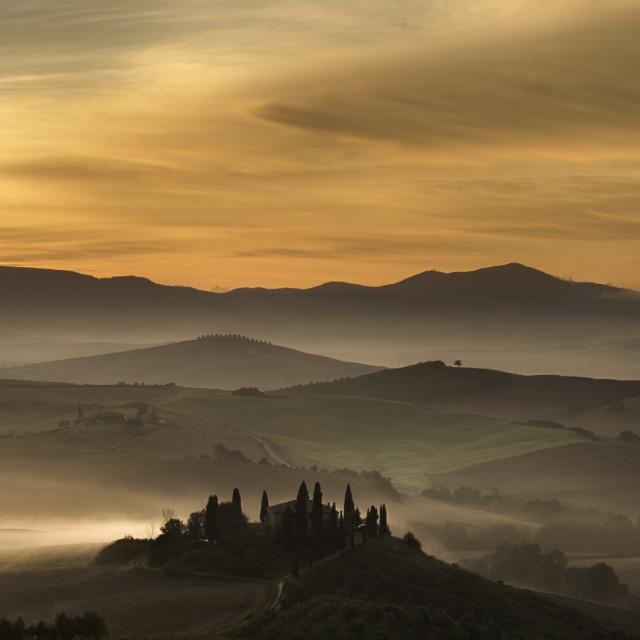 """Belvedere Sunrise, Tuscany"" stock image"