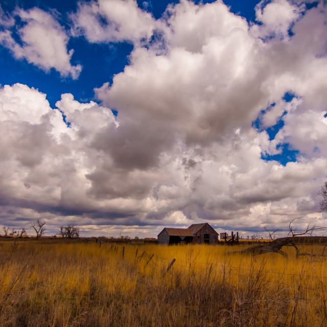 """""""Clouds over the fields"""" stock image"""