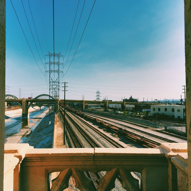 """LA River / Downtown LA"" stock image"