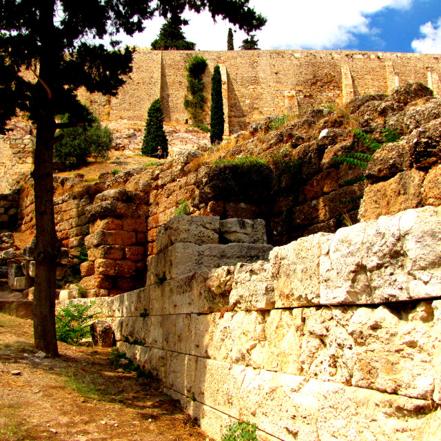 """Stonework and Ramparts of the Acropolis"" stock image"